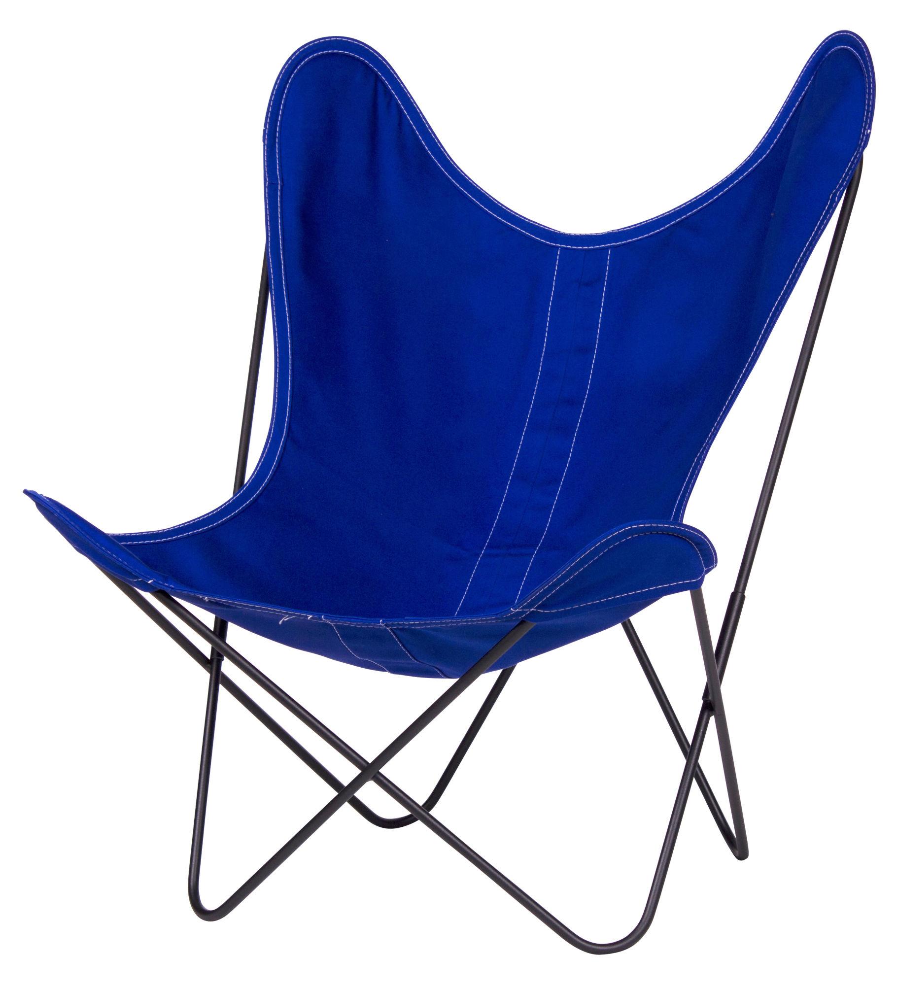 Mobilier - Mobilier Kids - Fauteuil enfant AA Baby Butterfly toile - AA-New Design - Bleu Ciel / Structure noire - Acier laqué, Toile