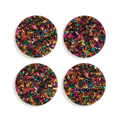 Tableware - Table Mats & Trivets - Carnival Glass coaster - / Set of 4 - Acrylic by & klevering - Multicoloured -  Paillettes, Acrylic