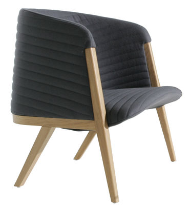 Furniture - Armchairs - Mafalda Padded armchair by Moroso - Grey - Foam, Solid oak, Steel, Wool