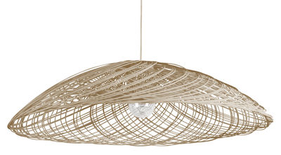 Lighting - Pendant Lighting - Satélise L Pendant - Rattan - Ø 100 cm by Forestier - Natural - Fabric, Rattan