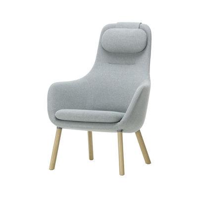 Arredamento - Poltrone design  - Poltrona imbottita HAL Lounge - / Cuscino da seduta rimovibile - Tessuto di Vitra - blu - Plastica rinforzata con fibra di vetro, Rovere, Schiuma di poliuretano, Tessuto
