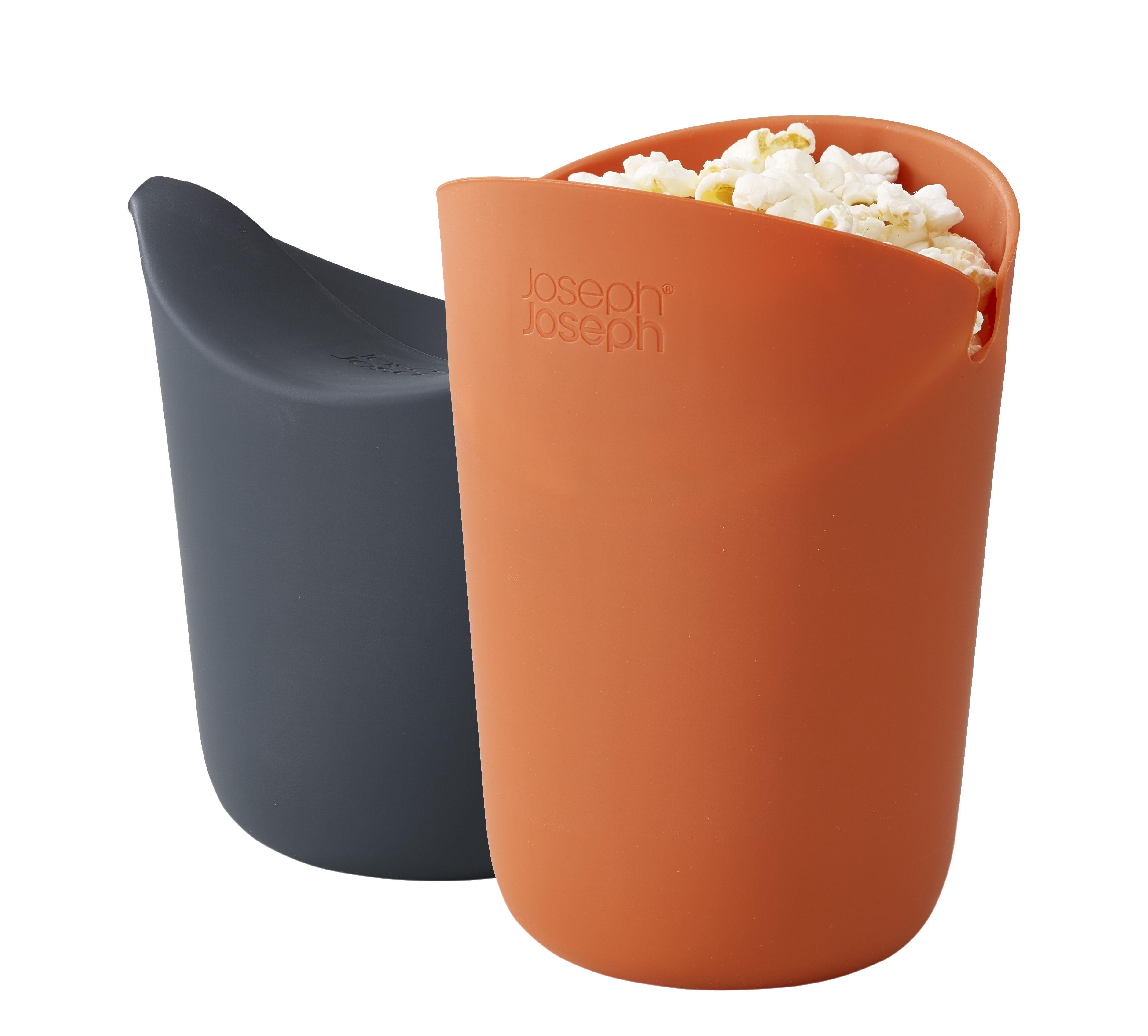 Kitchenware - Kitchen Equipment - M-Cuisine Popcorn Makers - Set of 2 by Joseph Joseph - Orange & Grey - Silicone