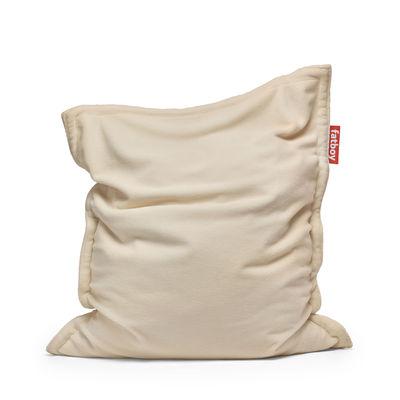 Mobilier - Poufs - Pouf Original Slim Teddy / Tissu duveteux ultra-doux - 155 x 120 cm - Fatboy - Blanc cassé -  Micro-billes EPS, Tissu duveteux polyester