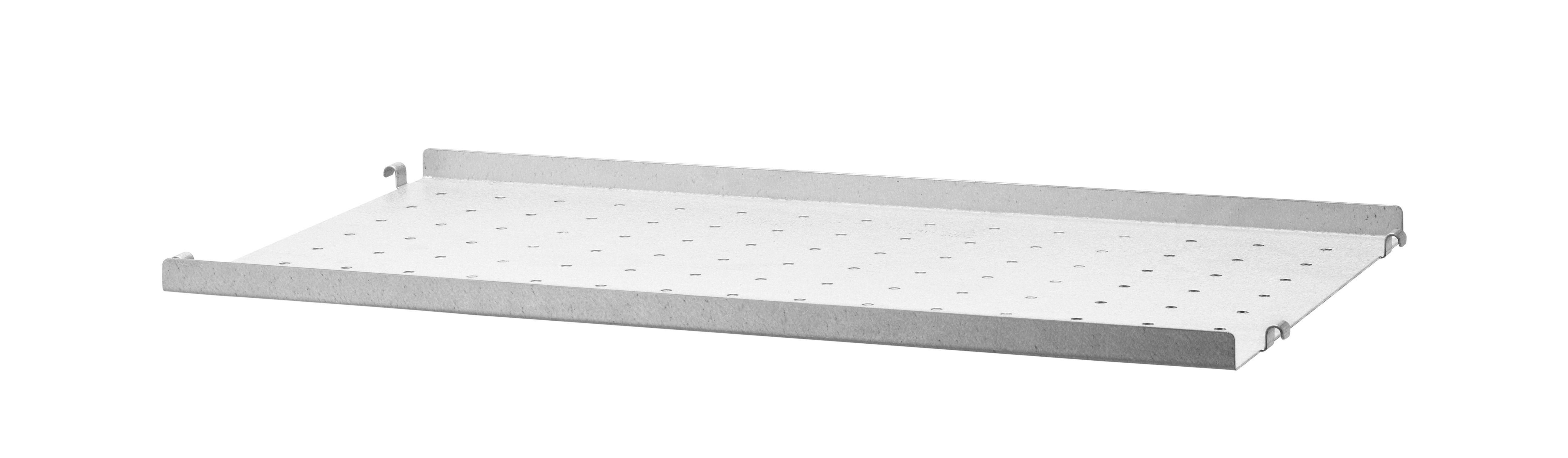Arredamento - Scaffali e librerie - Scaffale String Outdoor - / Acciaio zincato traforato - Bordo basso - 58 x P 30 cm di String Furniture - Bordo basso / Zincato - Aluzinc