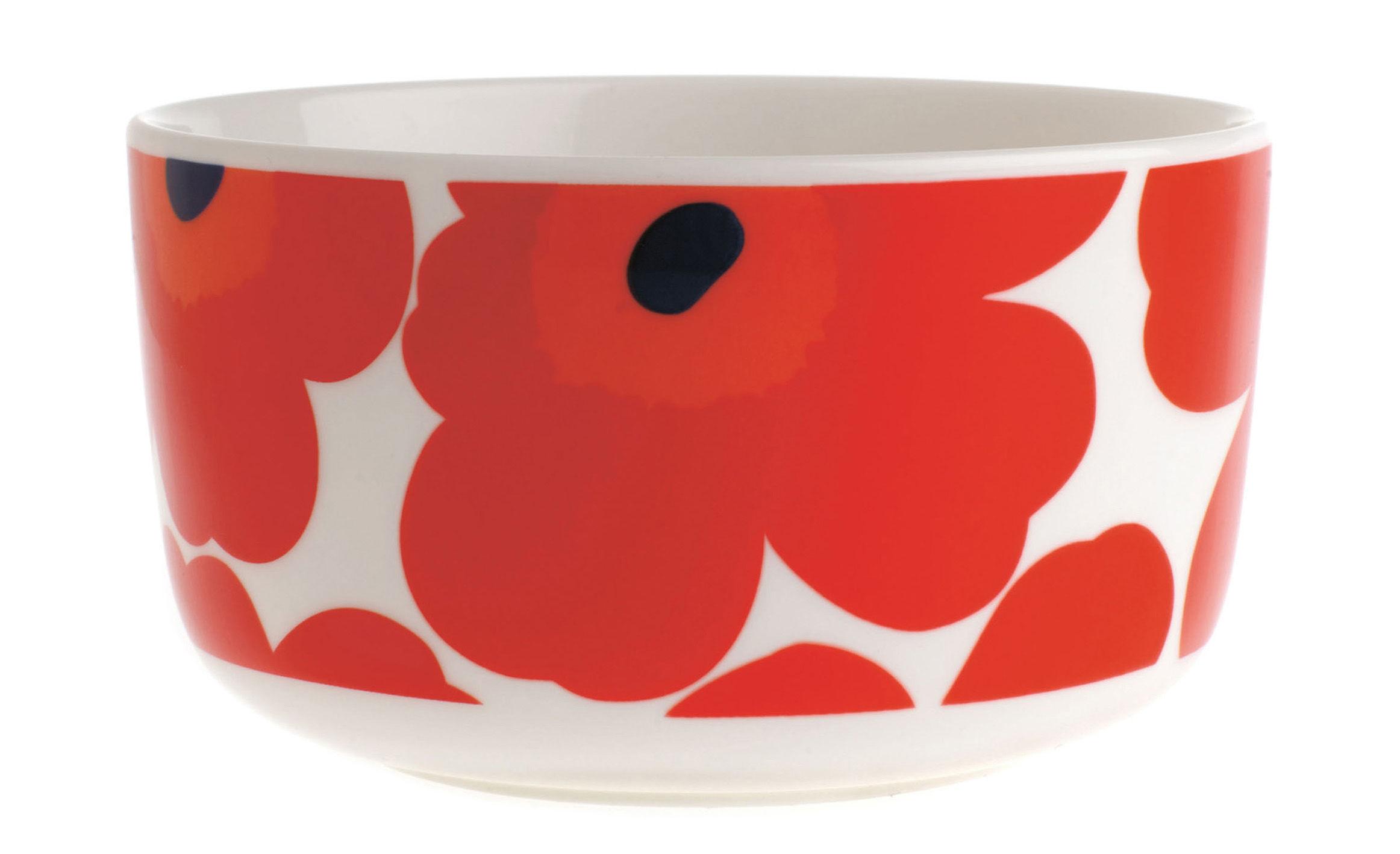 Tischkultur - Salatschüsseln und Schalen - Unikko Schale Ø 12,5 cm - Marimekko - Ø 12,5 cm - Unikko - Weiß & rot - emailliertes Porzellan