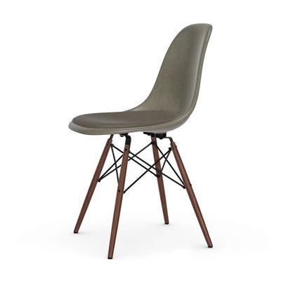 Arredamento - Sedie  - Sedia DSW - Eames Fiberglass Side Chair - / (1950) - Cuscino da seduta / Legno scuro di Vitra - Grigio & Cuscino Grigio / Legno foncé - , Acero massiccio, Schiuma di poliuretano, Tessuto