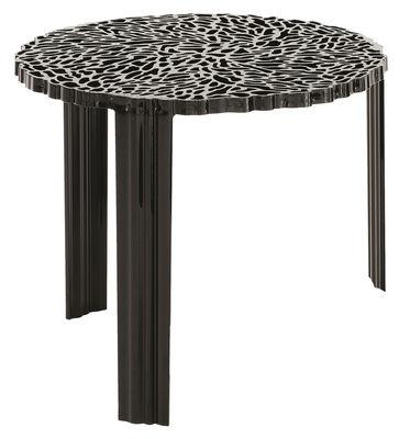 Mobilier - Tables basses - Table basse T-Table Alto / Ø 50 x H 44 cm - Kartell - Noir opaque - PMMA
