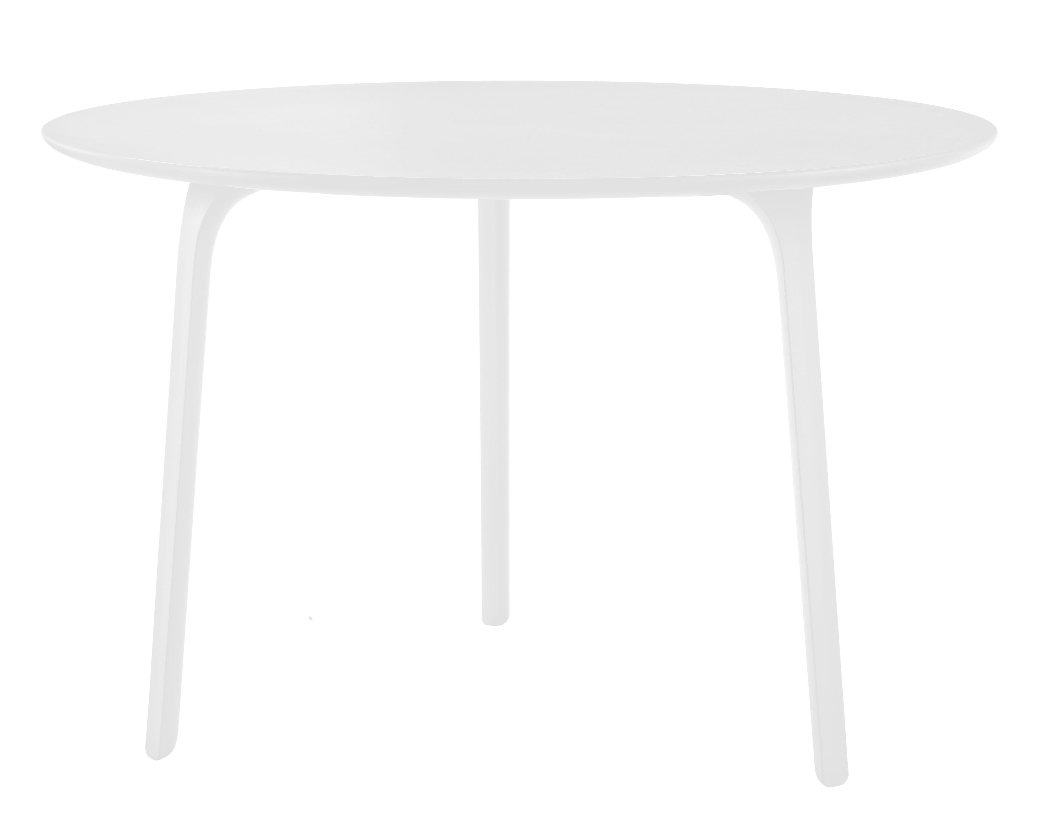 Mobilier - Tables - Table First / Ø 80 - Pour l'intérieur - Magis - Pieds blancs / plateau blanc - MDF verni, Polyamide