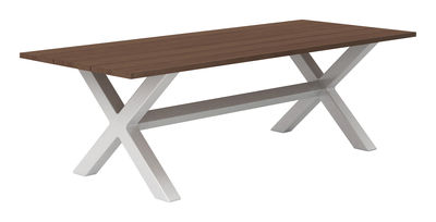 Outdoor - Tables de jardin - Table rectangulaire Banquété / 180 x 100 cm - Serralunga - Structure blanche - Plateau bois - Bois Iroko, Polyéthylène