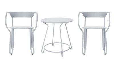 Huggy Tisch und Sitzgarnitur / Tisch Ø 75 cm + 2 Sessel - Maiori - Frostgrau
