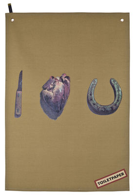 Torchon Toiletpaper / I love you - Seletti beige en tissu