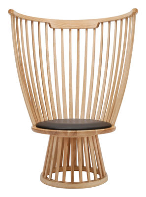 Furniture - Chairs - Fan chair Armchair - H 112 cm / Wood & leather by Tom Dixon - Natural - Ashwood, Leather
