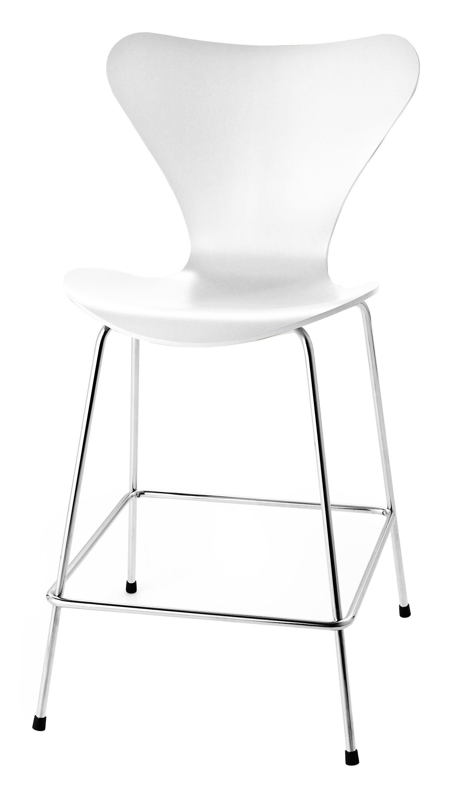 Furniture - Bar Stools - Série 7 Bar chair - H 76 cm - Stainded ash by Fritz Hansen - White - Ashwood, Chromed steel