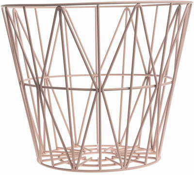Decoration - For bathroom - Wire Large Basket - Ø 60 x H 45 cm by Ferm Living - Rose - Lacquered wire