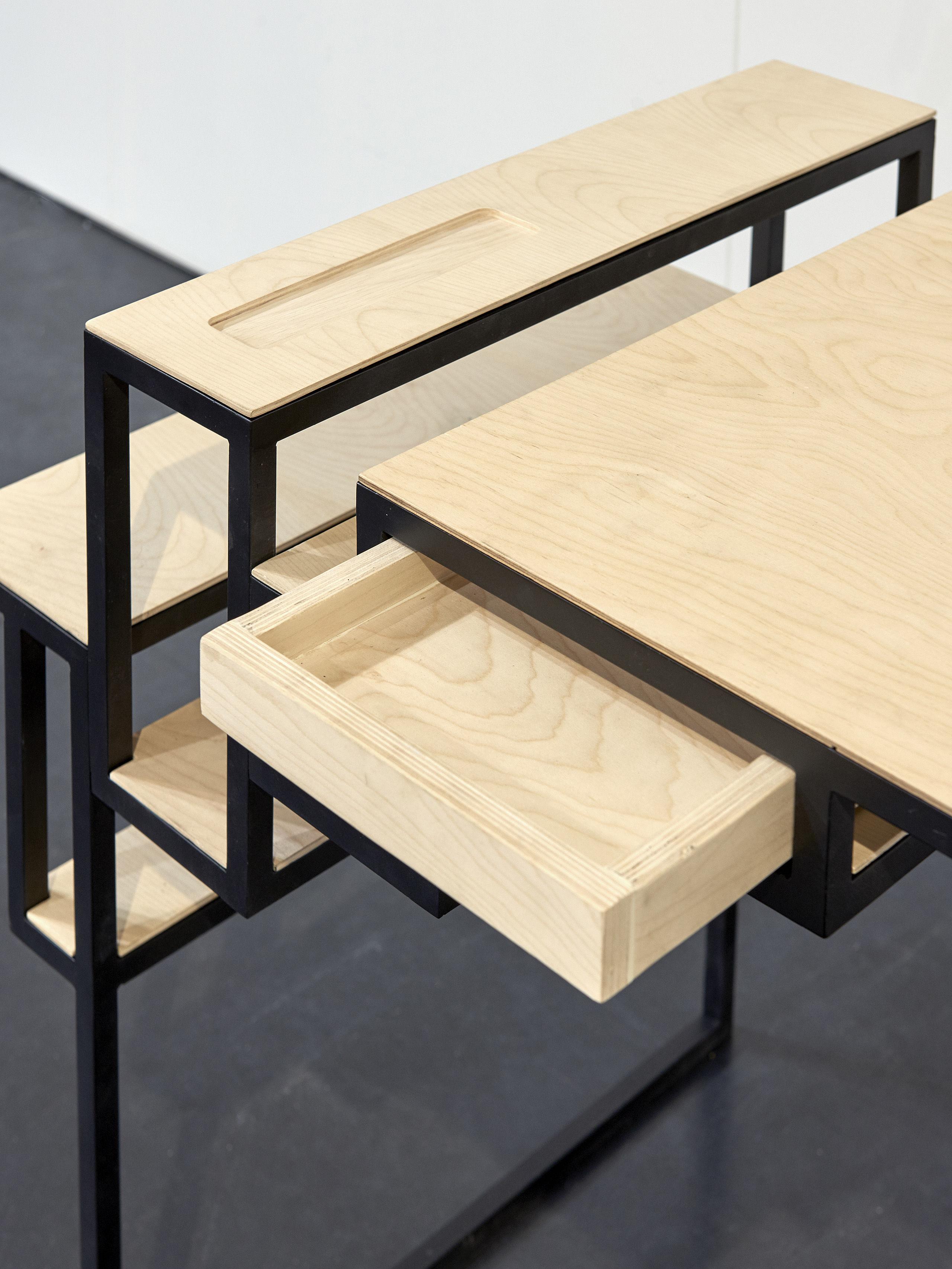 bureau jointed l 90 cm noir bois serax made in design. Black Bedroom Furniture Sets. Home Design Ideas