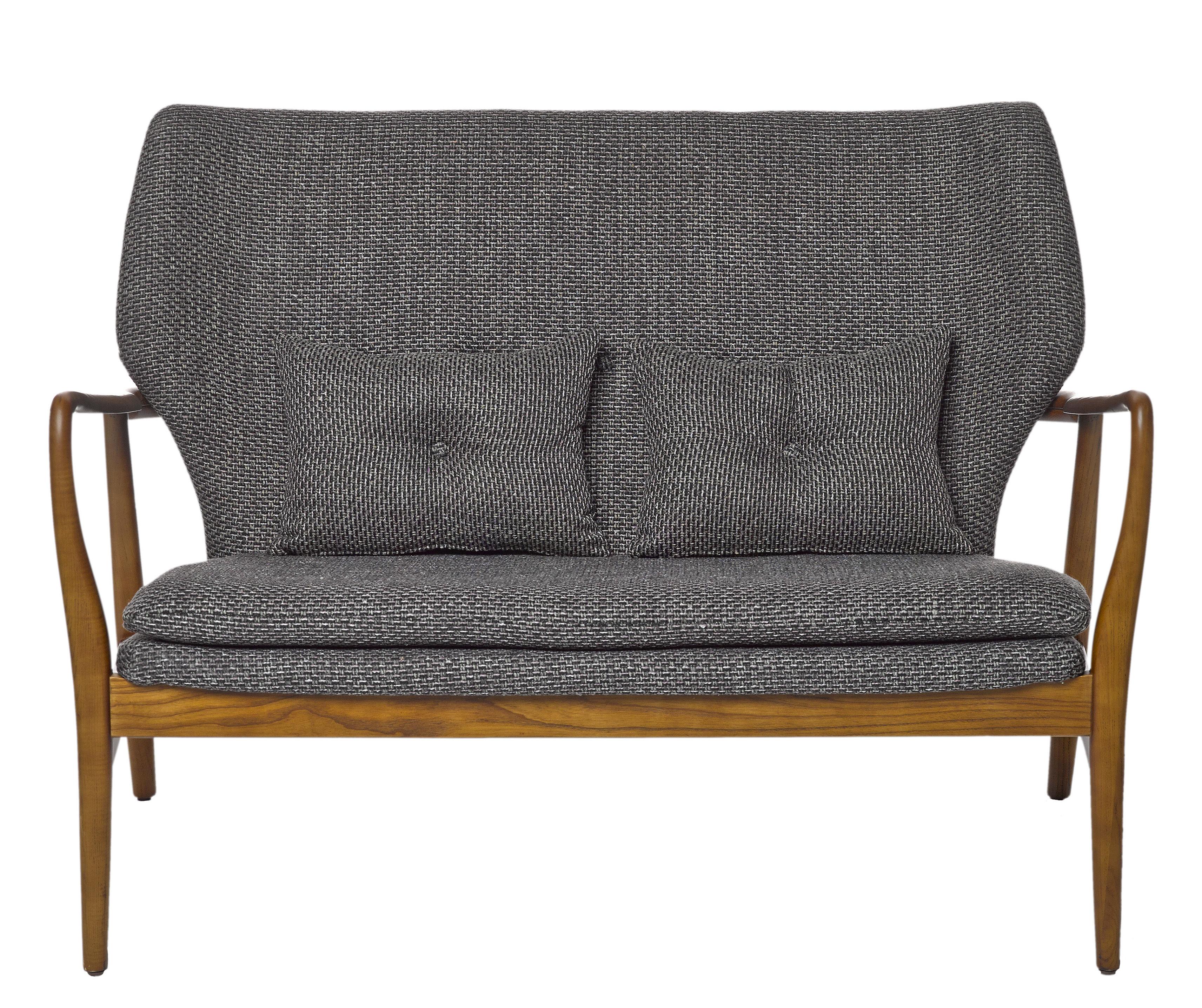 Mobilier - Canapés - Canapé droit Peggy / 2 places - L 124 cm - Pols Potten - Gris / Bois naturel - Frêne verni, Mousse, Tissu