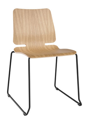 Chaise empilable Noa / Piètement luge - Bois & métal - Ondarreta noir,bois naturel en métal
