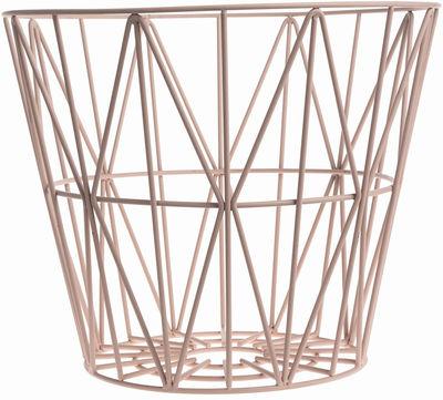 Déco - Salle de bains - Corbeille Wire Large / Ø 60 x H 45 cm - Ferm Living - Rose - Fil de fer laqué