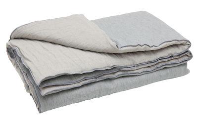 Dekoration - Wohntextilien - Cocoon Vice Versa Decke / 140 x 200 cm - Leinen - Maison de Vacances - Grau-blau - Polyester Molton, Zerknittertes und gewaschenes Leinen