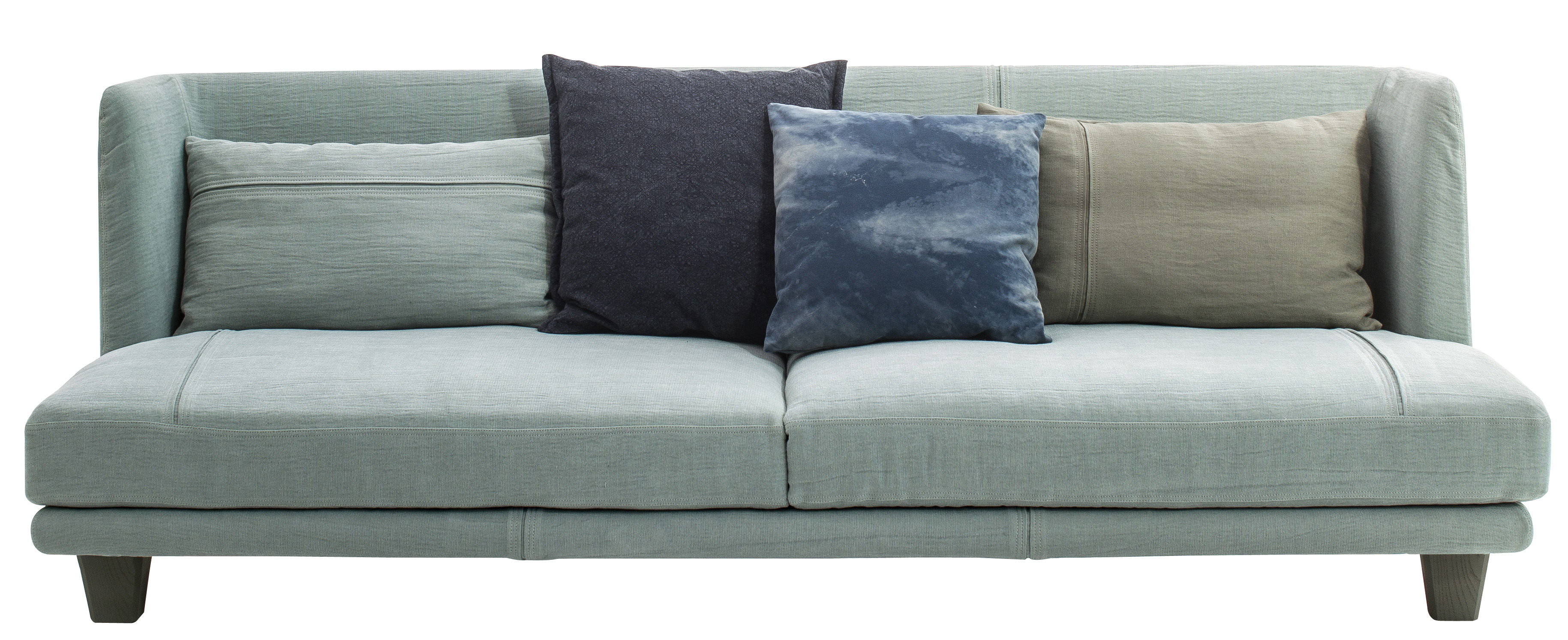 Arredamento - Divani moderni - Divano destro Gimme More - / L 240 - 3 posti di Diesel with Moroso - Blu cielo / Cuscini tonalità blu - Espanso, Legno, Tessuto