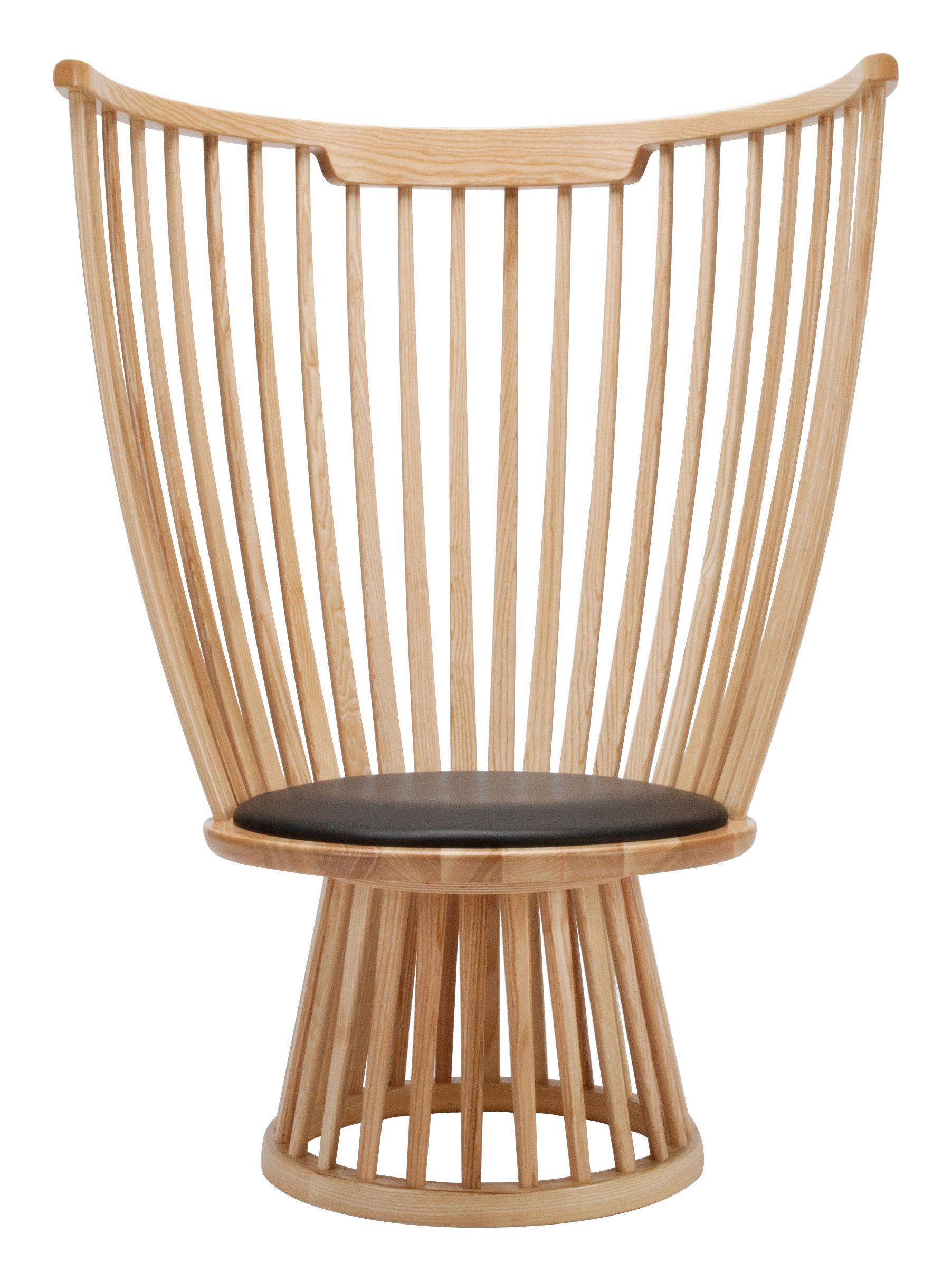 Mobilier - Chaises, fauteuils de salle à manger - Fauteuil Fan chair / H 112 cm - Bois & cuir - Tom Dixon - Bois naturel / Assise noire - Cuir, Frêne massif