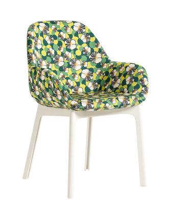 Mobilier - Chaises, fauteuils de salle à manger - Fauteuil rembourré Clap La Double J / Tissu & pieds plastique - Kartell - Ninfea / Pieds blancs - Polyuréthane, Technopolymère thermoplastique, Tissu