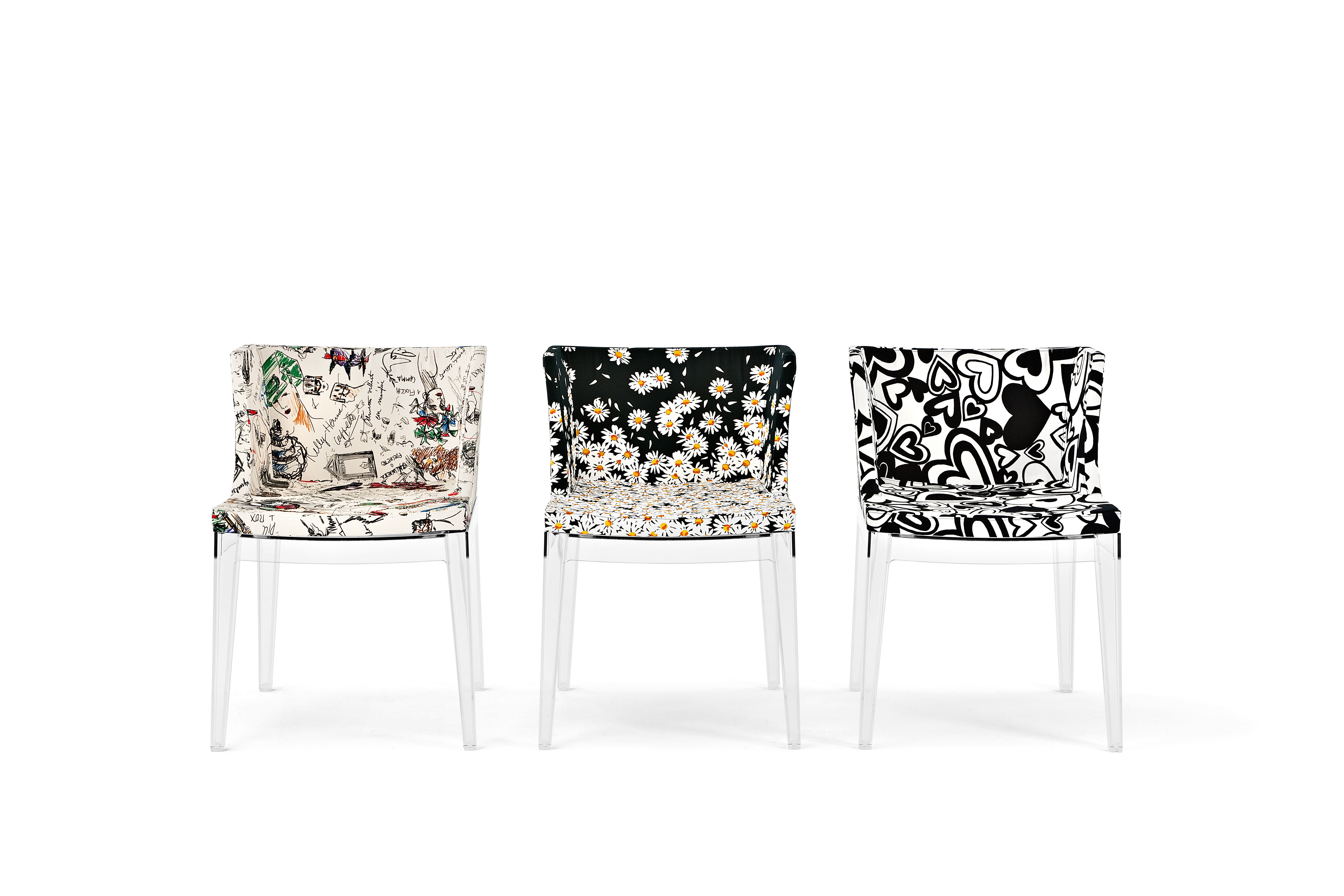 fauteuil rembourr mademoiselle moschino tissu pieds transparents esquisse kartell. Black Bedroom Furniture Sets. Home Design Ideas
