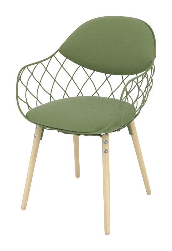 Mobilier - Chaises, fauteuils de salle à manger - Fauteuil rembourré Pina / Tissu - Métal & pieds bois - Magis - Tissu vert / Pieds bois - Acier verni, Frêne, Tissu