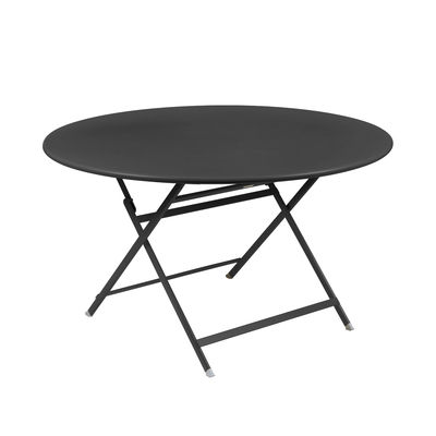 Outdoor - Garden Tables - Caractère Foldable table - / Ø 128 cm / 7 people by Fermob - Carbon - Painted steel