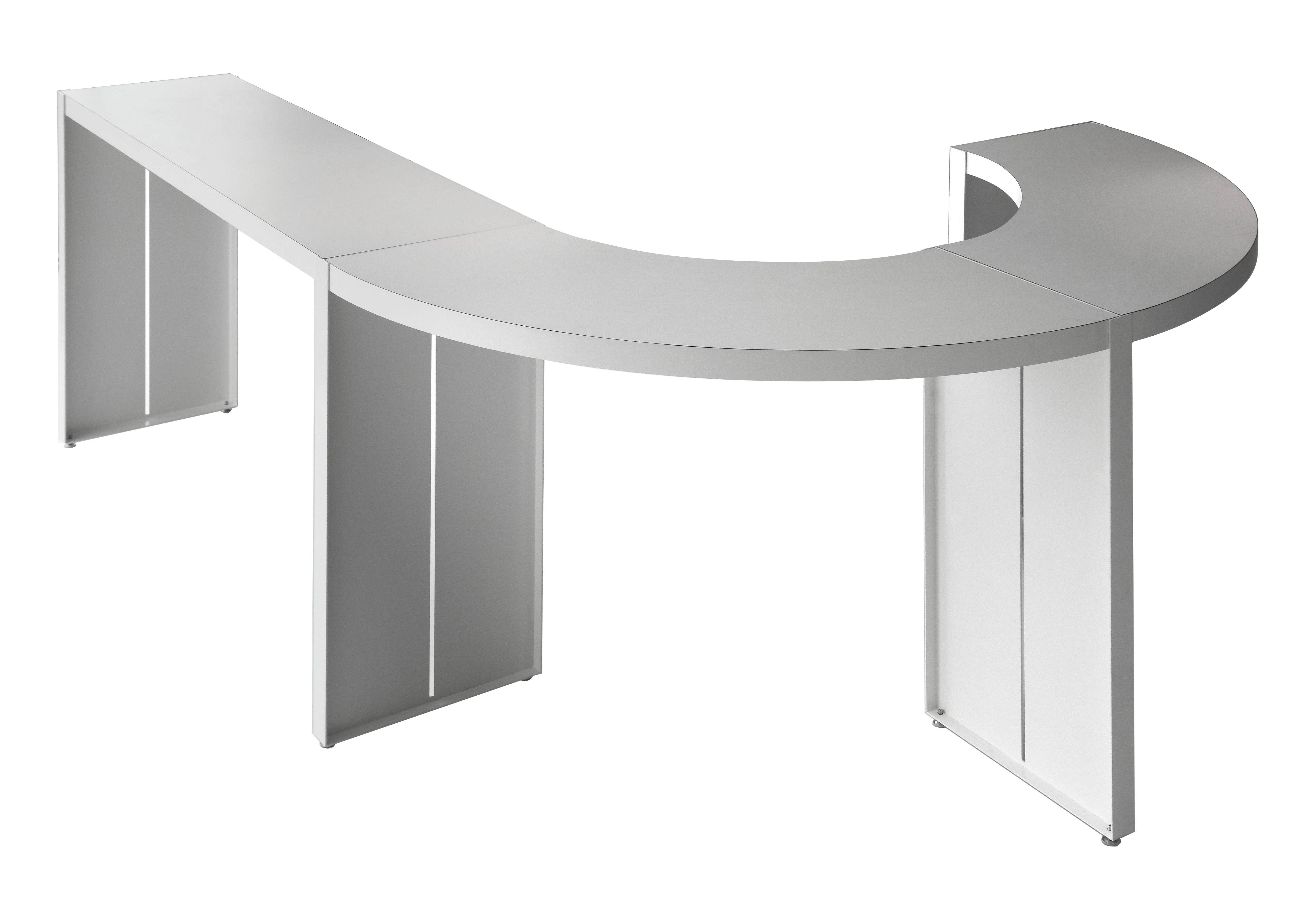 Möbel - Stehtische und Bars - Panco hoher Tisch / H 110 cm - L 290 cm - Lapalma - Weiß - Furnier, lackiertes Metall