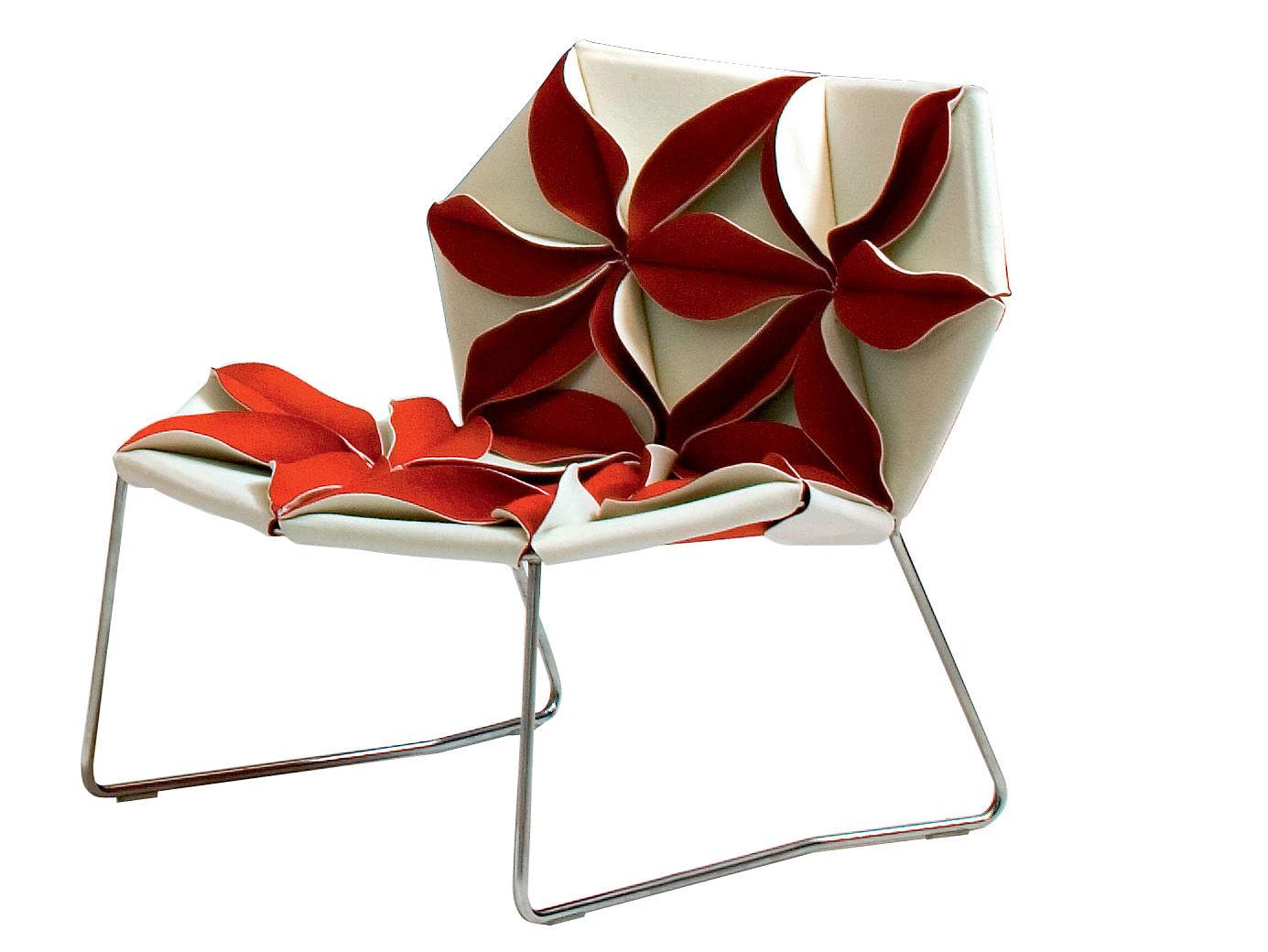 Möbel - Außergewöhnliche Möbel - Antibodi Lounge Sessel - Moroso - Weiß/rote Blumen - Gewebe, rostfreier Stahl