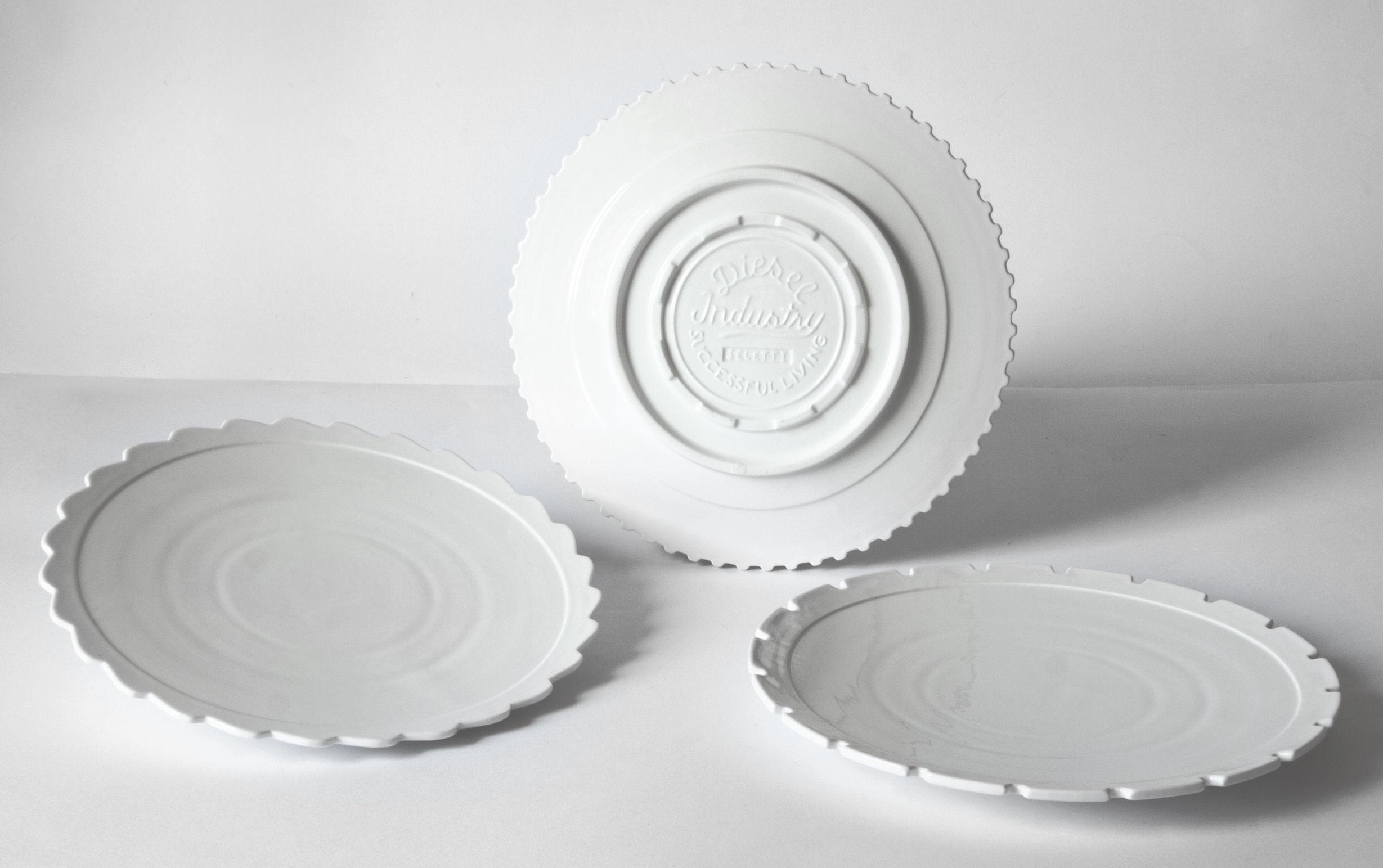 Tavola - Piatti  - Piatto Machine Collection - / Ø 27,2 cm - Set da 3 di Diesel living with Seletti - Bianco - Porcellana