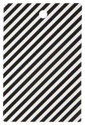 Arts de la table - Plateaux - Planche à découper Stripe / 19 x 29 cm - Ferm Living - Rayure / Noir & blanc - Contreplaqué de bouleau, Laminé