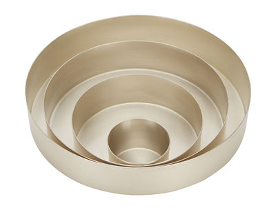 Arts de la table - Plateaux - Plateau Orbit Small / Set 4 plateaux Ø 18 cm - Tom Dixon - Argent - Laiton finition argent