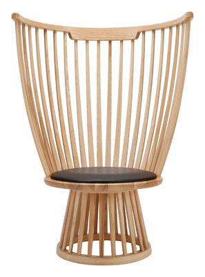Arredamento - Sedie  - Poltrona Fan chair - H 112 cm di Tom Dixon - Legno naturale / Seduta nera - Frassino massello, Pelle