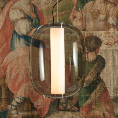 Illuminazione - Lampadari - Sospensione Meridiano Grande - / LED - H 54 cm di Fontana Arte - Gris fumé - Metallo nichelato, vetro soffiato