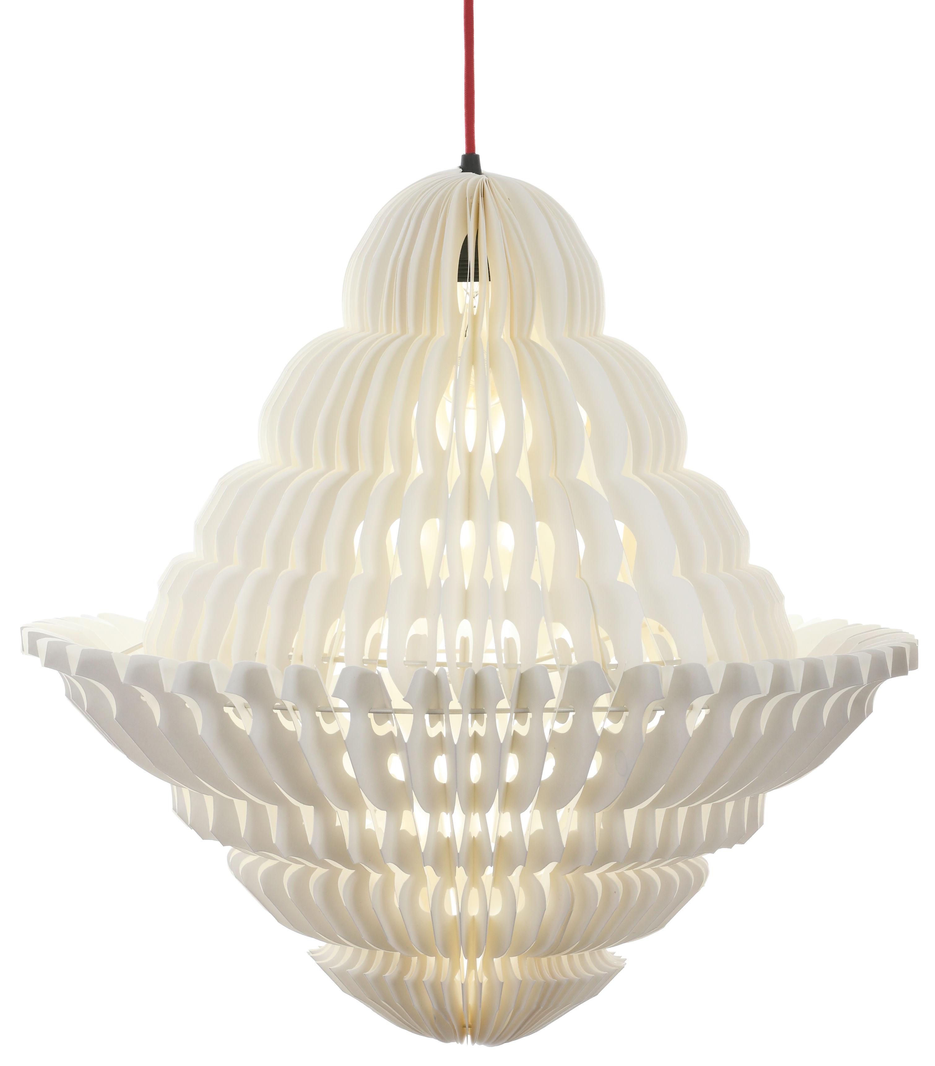 Illuminazione - Lampadari - Sospensione Paper Lustre - / Ø 46 x H 70 cm di Made in design Editions - Bianco / Cavo bianco - Carta