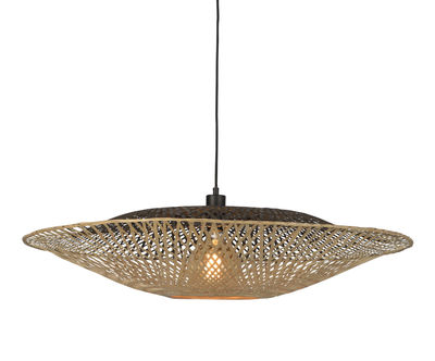 Luminaire - Suspensions - Suspension Kalimantan Flat Large / Bambou - Ø 87 cm - GOOD&MOJO - Ø 87 cm / Noir & naturel - Bambou