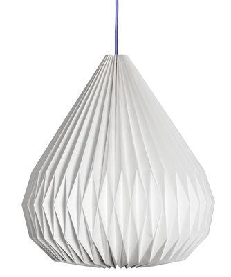 Luminaire - Suspensions - Suspension Paper Dome Ø 40 x H 46 cm - Made in design Editions - Blanc / Câble noir - Papier