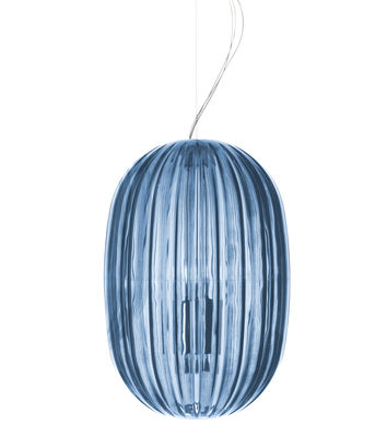 Luminaire - Suspensions - Suspension Plass Media / Ø 34 x H 50 cm - Foscarini - Bleu - Polycarbonate