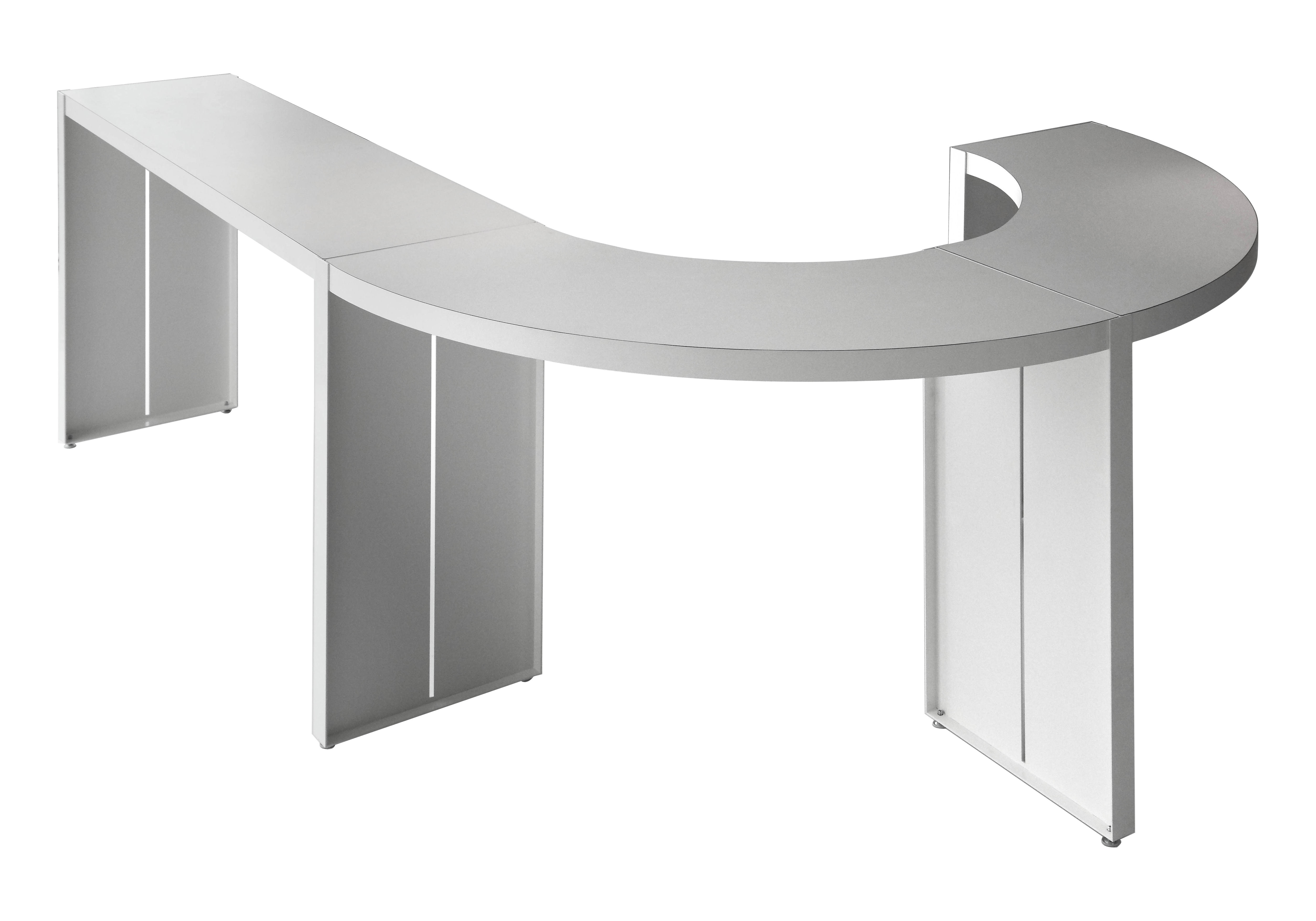 Arredamento - Tavoli alti - Tavolo alto Panco - h 110 cm di Lapalma - Bianco Laminato - L 110 cm / Arco di cerchio - Compensato, metallo laccato
