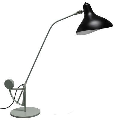 Leuchten - Tischleuchten - Mantis BS3 Tischleuchte / H 84 cm - Neuauflage des Originals aus dem Jahr 1951 - DCW éditions - Grau-grün / Lampenschirm schwarz - Aluminium, Stahl