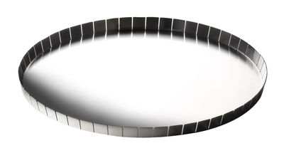 Tableware - Trays - Alle Cinque Tray - Ø 32 x H 1,5 cm by Serafino Zani - Polished steel outside / Mat seel inside - Stainless steel