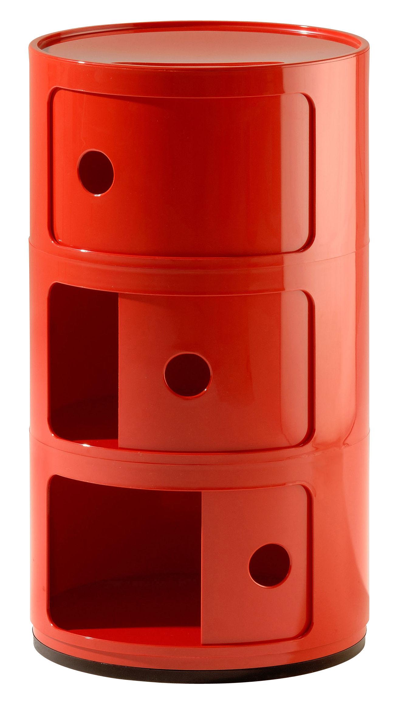Möbel - Möbel für Teens - Componibili Ablage - Kartell - 3 Elemente - Rot - ABS