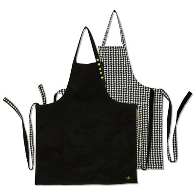 Kitchenware - Tea Towels & Aprons - Apron - reversible / Houndstooth & Black by Dutchdeluxes - Houndstooth / Black velvet - Cotton