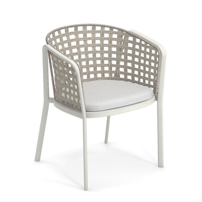 Furniture - Chairs - Carousel Armchair - / Synthetic rope & metal by Emu - Matt white / Ivory rope - Aluminium, Synthetic rope