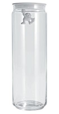 Bocal hermétique Gianni a little man holding on tight / 200 cl - A di Alessi blanc en verre/matière plastique