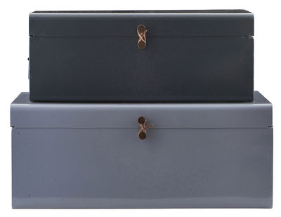Decoration - Children's Home Accessories - Metal Box - Set of 2 - 60 x 36 cm by House Doctor - Blue / Grey - Lacquered metal, Leather