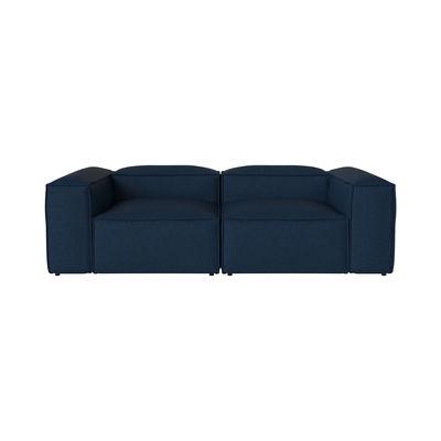 Mobilier - Canapés - Canapé droit Cosima / 3 places - L 240 cm / Tissu - Bolia - Bleu foncé (Tissu Sira) -  Duvet, Bois FSC, Fibres, Mousse froide, Tissu Sira