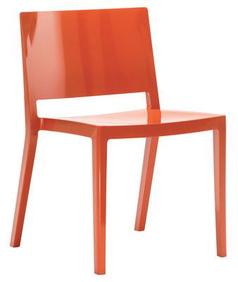 Chaise empilable Lizz / Version brillante - Kartell orange brillant en matière plastique